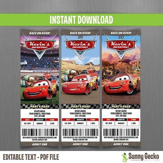 Free Disney Cars Ticket Invitations Printable