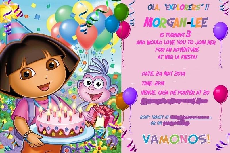 Free Dora The Explorer Invitation Templates