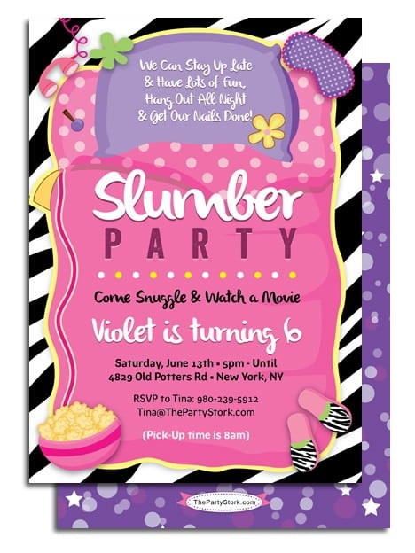 Free Download Slumber Party Invitations