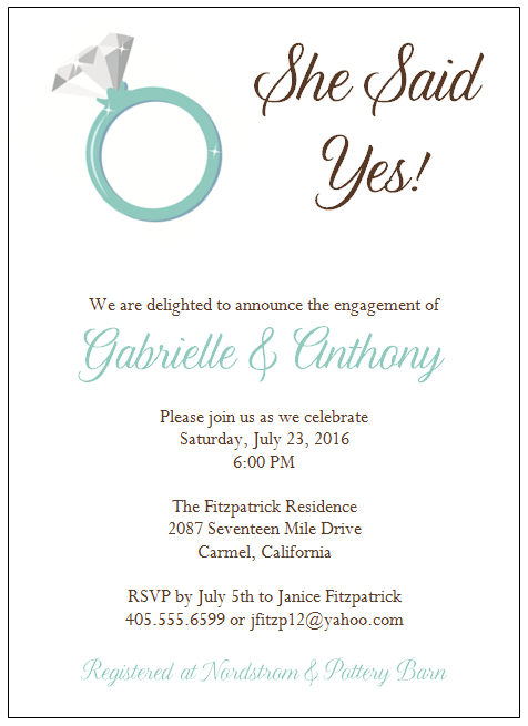 engagement invitation format. ideas for engagement party, Party invitations
