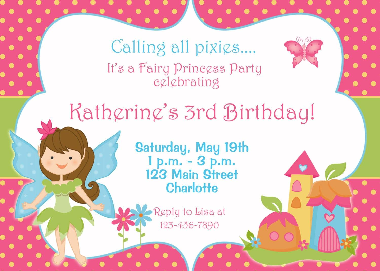 Free Fairy Birthday Party Invitation