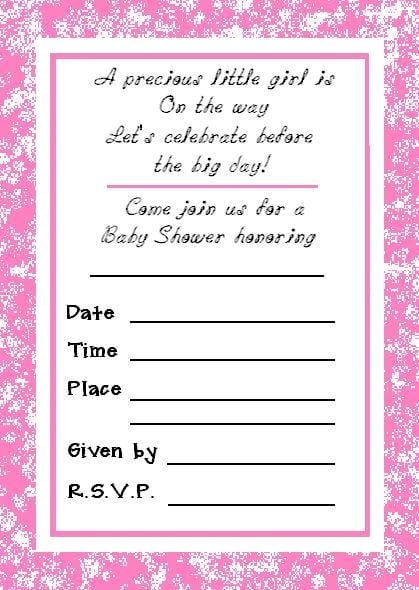 Free Girl Baby Shower Invitations Printables