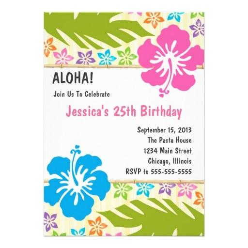 Free Hawaiian Themed Invitation Templates