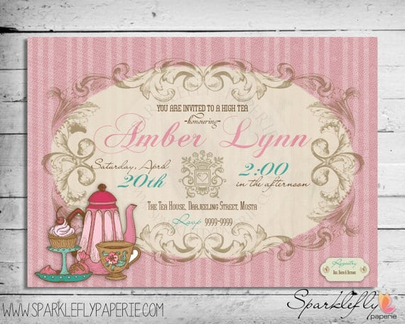 Free High Tea Printable Invitations