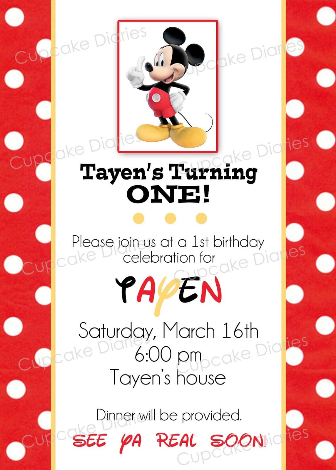 Free Invitation Mickey Mouse
