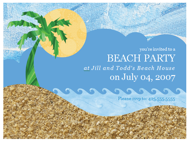 Free Invitation Template Beach