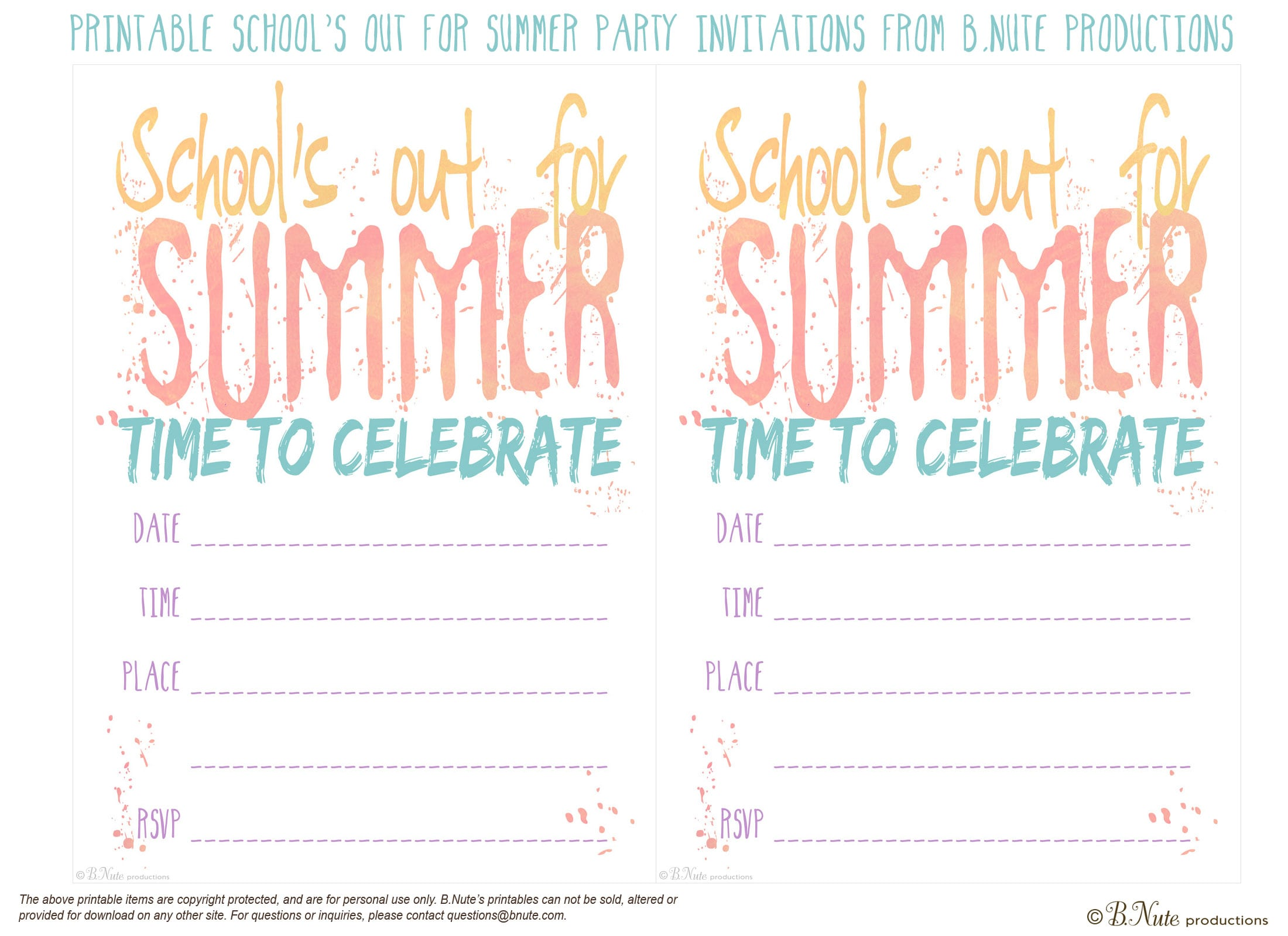 Free Invitations To Print Out