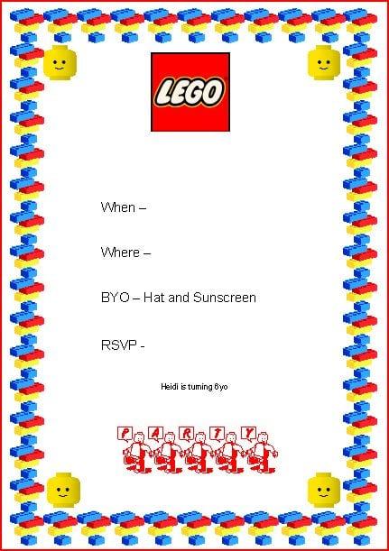 Free Lego Birthday Party Invitations