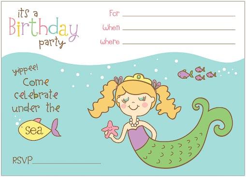 Free Mermaid Party Invitation Templates