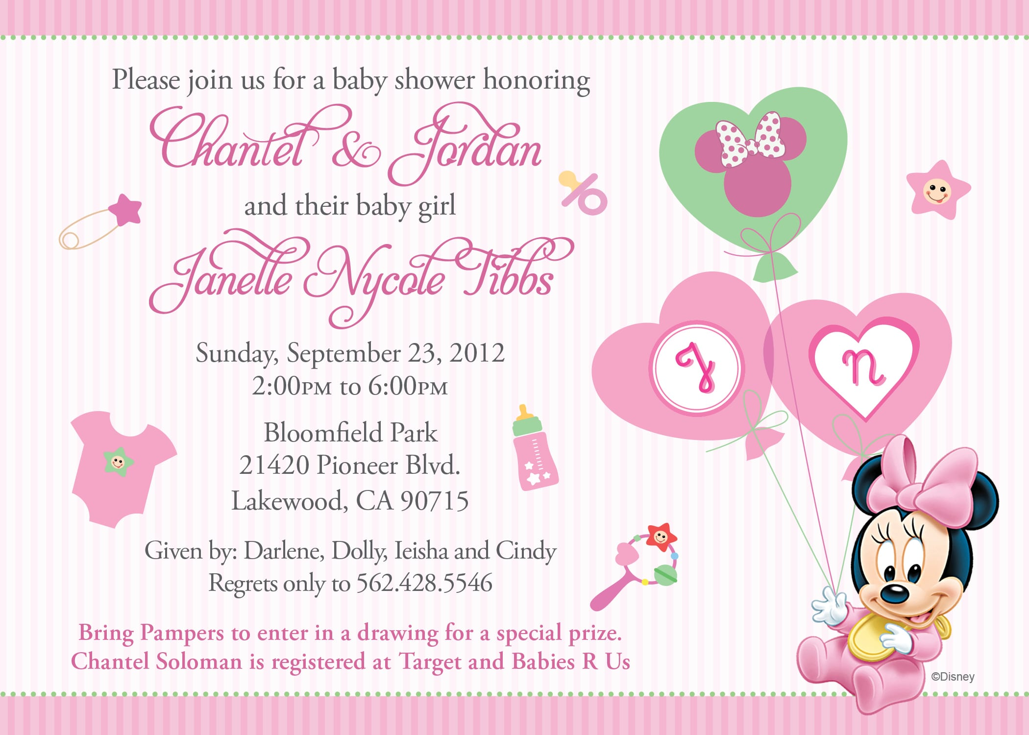 Free Online Minnie Mouse Baby Shower Invitations