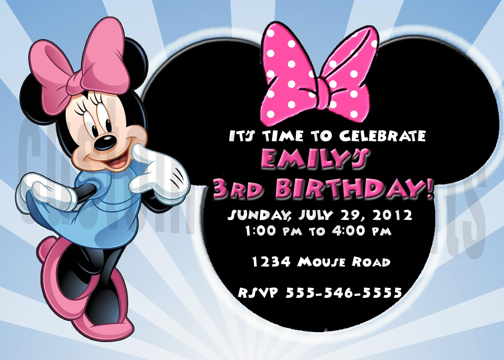 Free Personalized Minnie Mouse Invitations