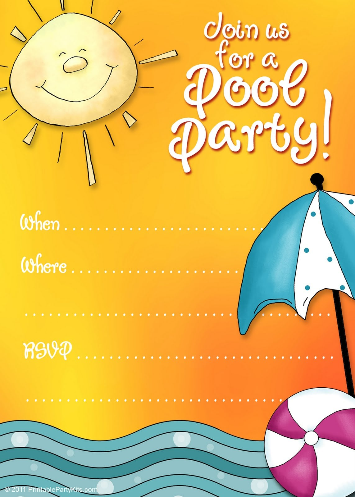 Free Pool Party Invitation Downloads