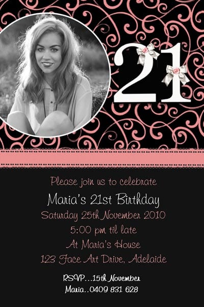 Free Printable 21st Birthday Invitation