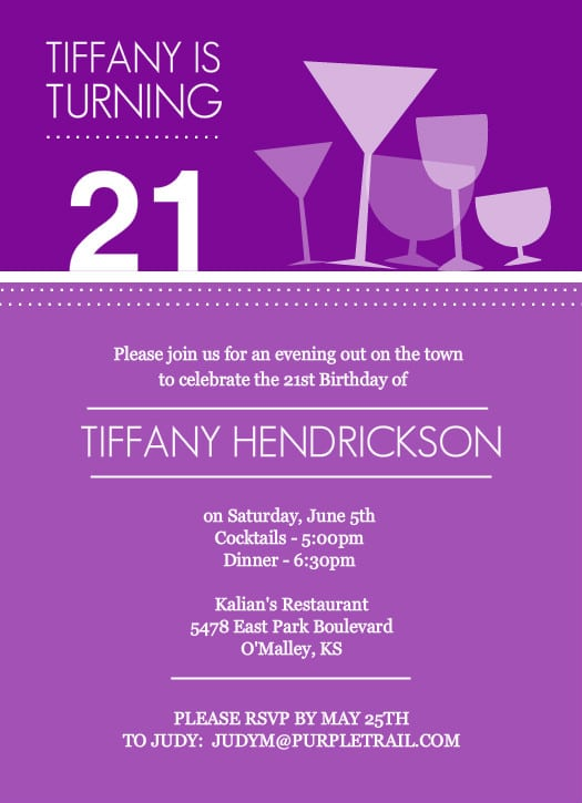 Free Printable 21st Birthday Invitation Cards