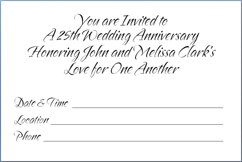 Free Printable 25th Wedding Anniversary Invitations