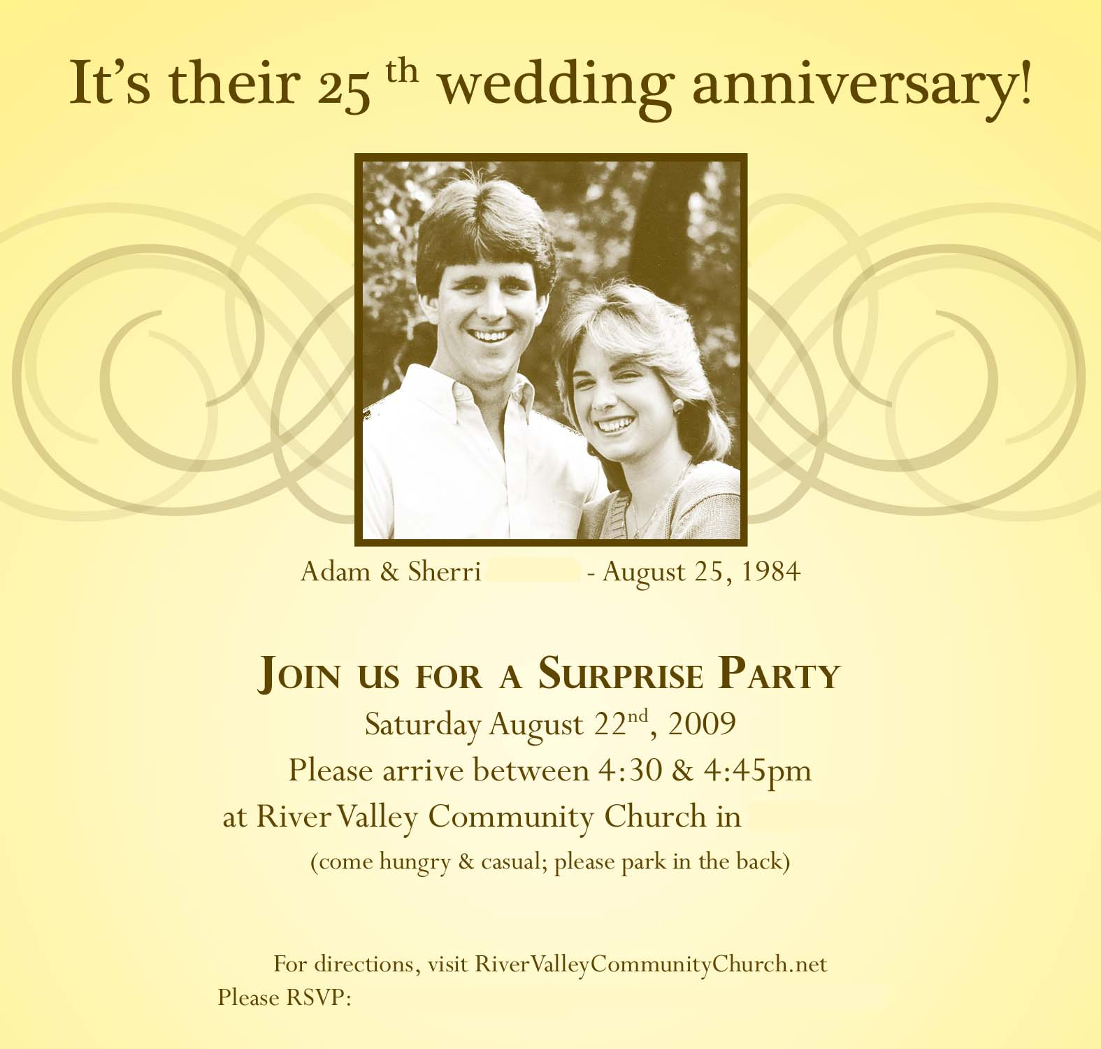 Free Printable 25th Wedding Anniversary Party Invitations