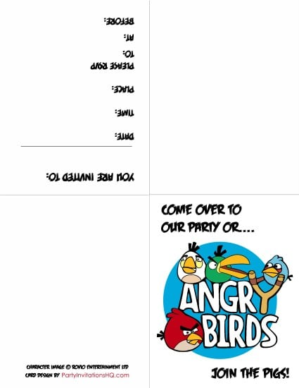 Free Printable Angry Birds Star Wars Invitations