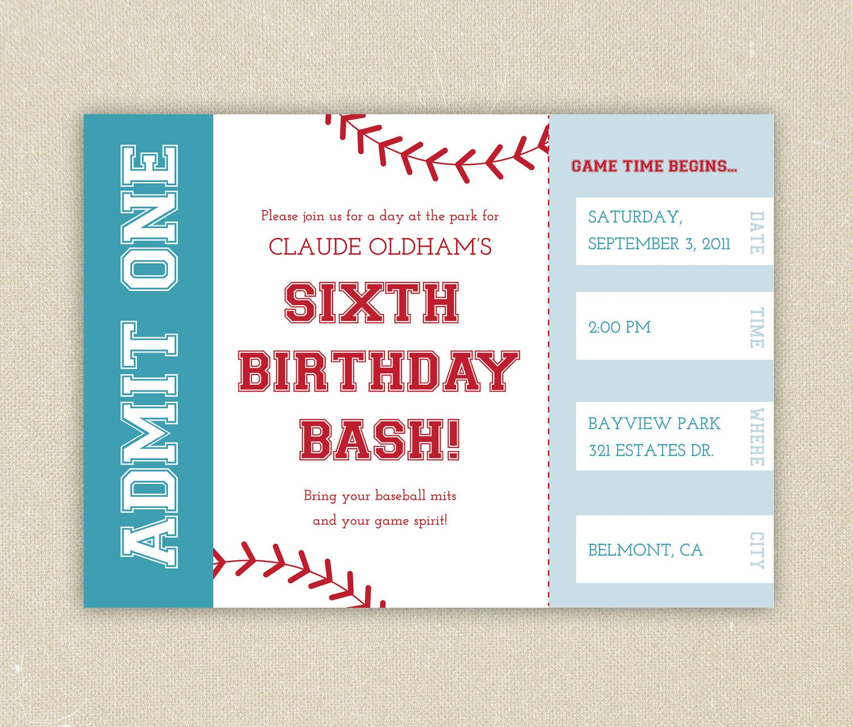 Free Printable Baseball Ticket Birthday Invitations