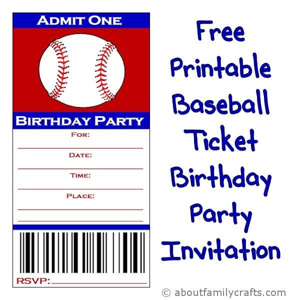 Free Printable Baseball Ticket Invitation