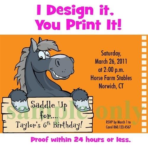 Free Printable Birthday Invitations Horse Theme