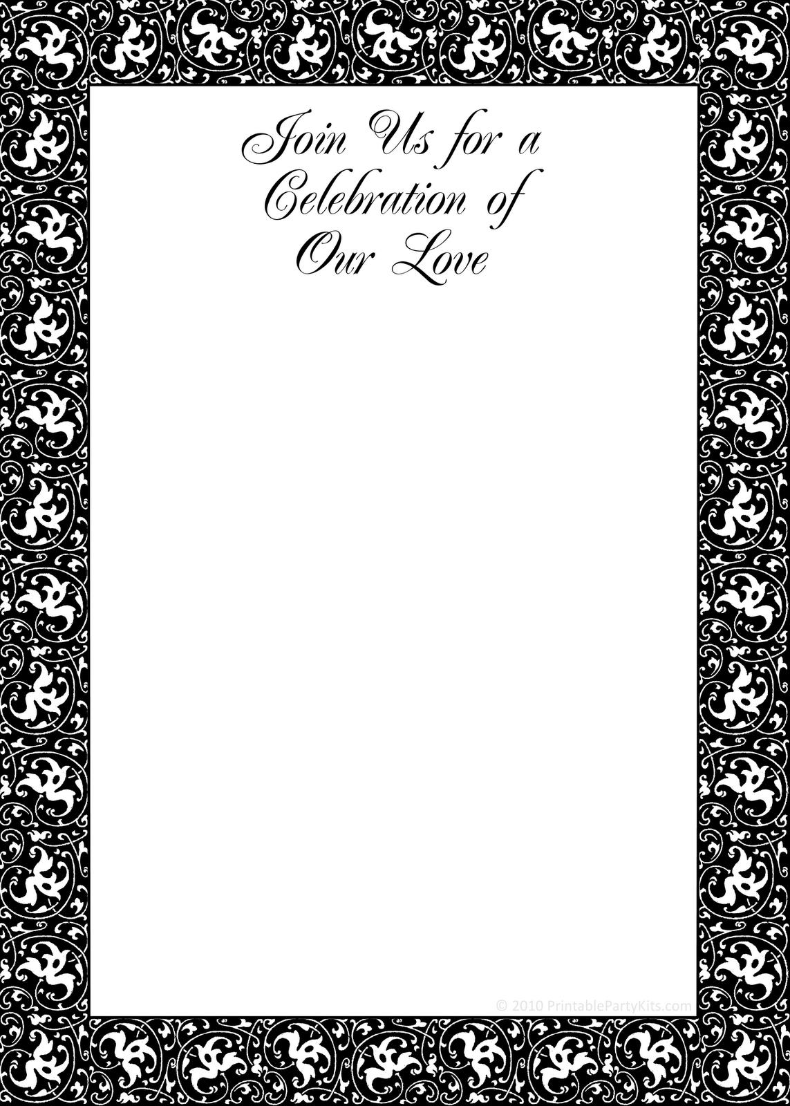 Printable Black And White Birthday Invitation Template