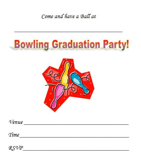 Free Printable Bowling Graduation Party Invitation