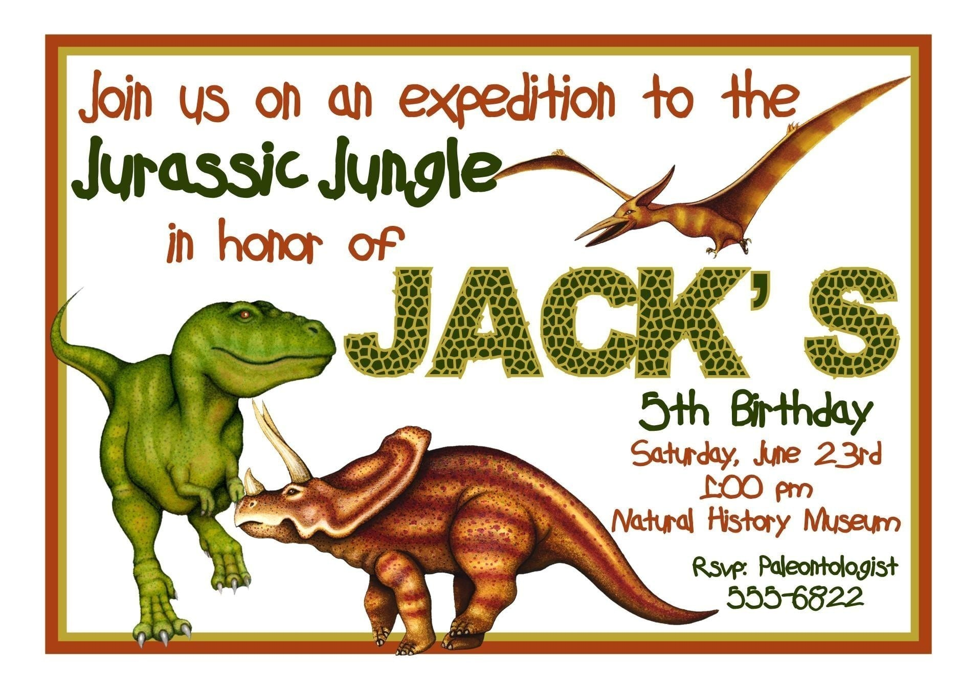 Free Printable Dinosaur Birthday Invitation Templates