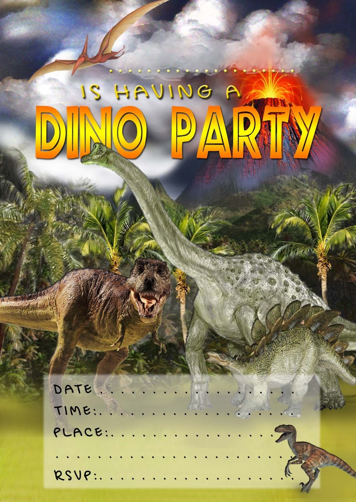 It is an image of Lively Dinosaur Party Invitations Free Printable