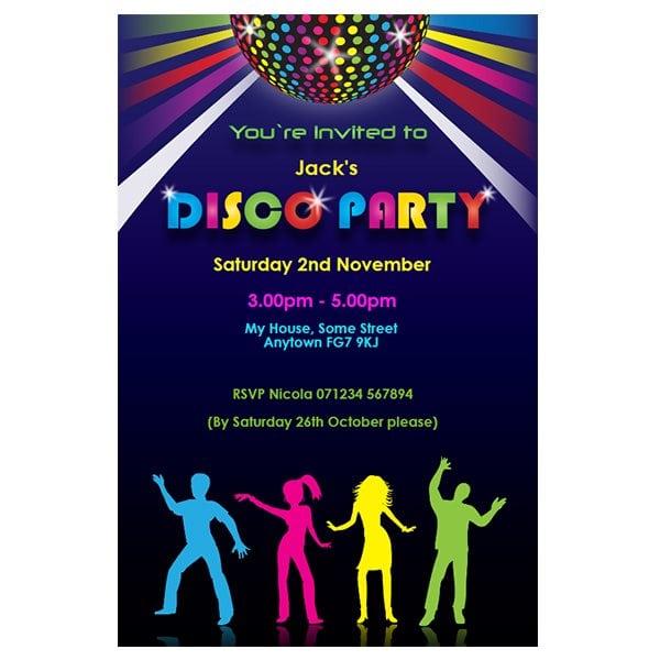 Free Printable Disco Party Invitations