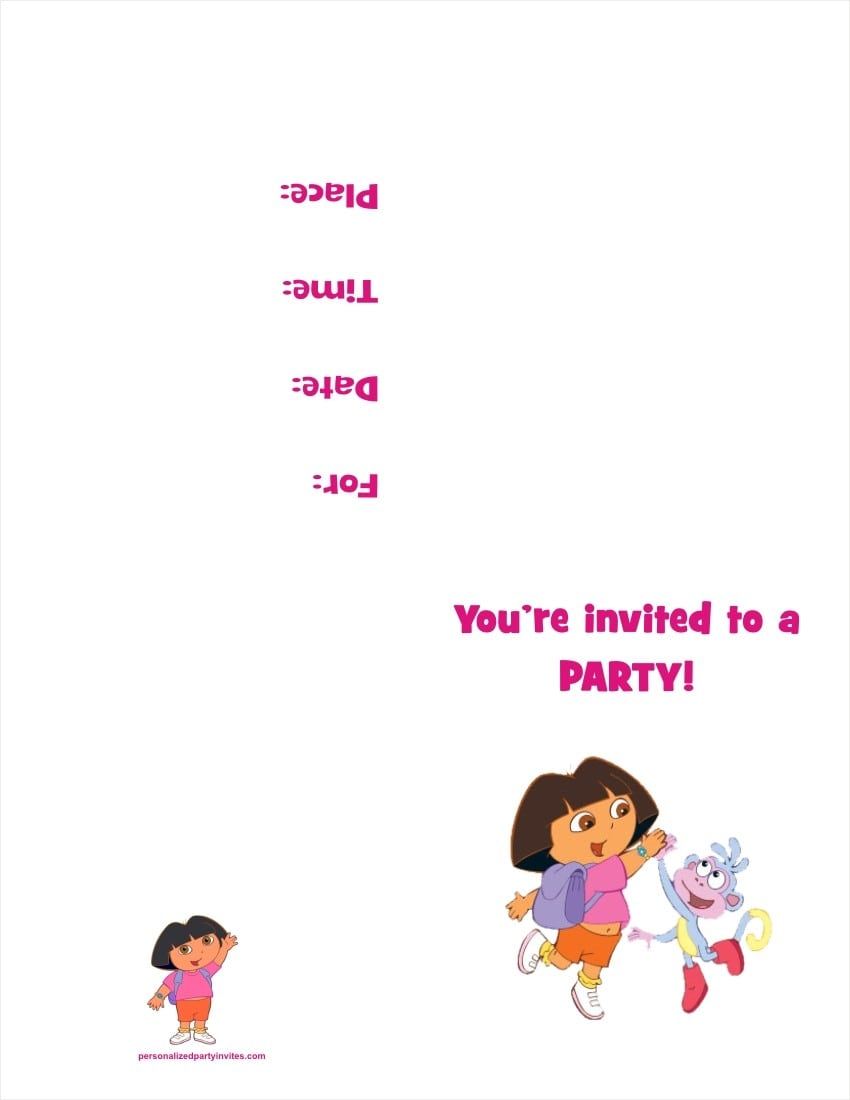 Free Printable Dora Birthday Party Invitations