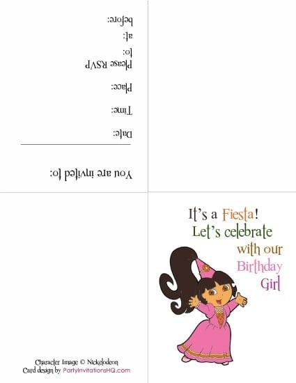 Free Printable Dora Invitations For Birthday