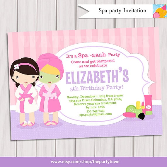 Free Printable Girls Spa Party Invitation