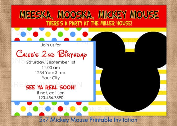 Free Printable Invitation Mickey Mouse