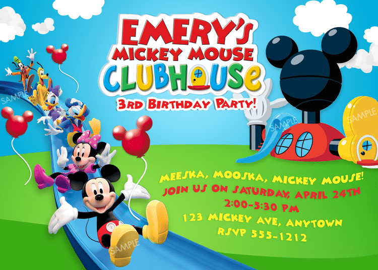 Free Printable Mickey Mouse Clubhouse Party Invitations