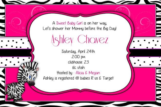 printable pink zebra invitation