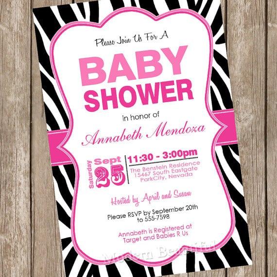Free Printable Pink Zebra Baby Shower Invitations