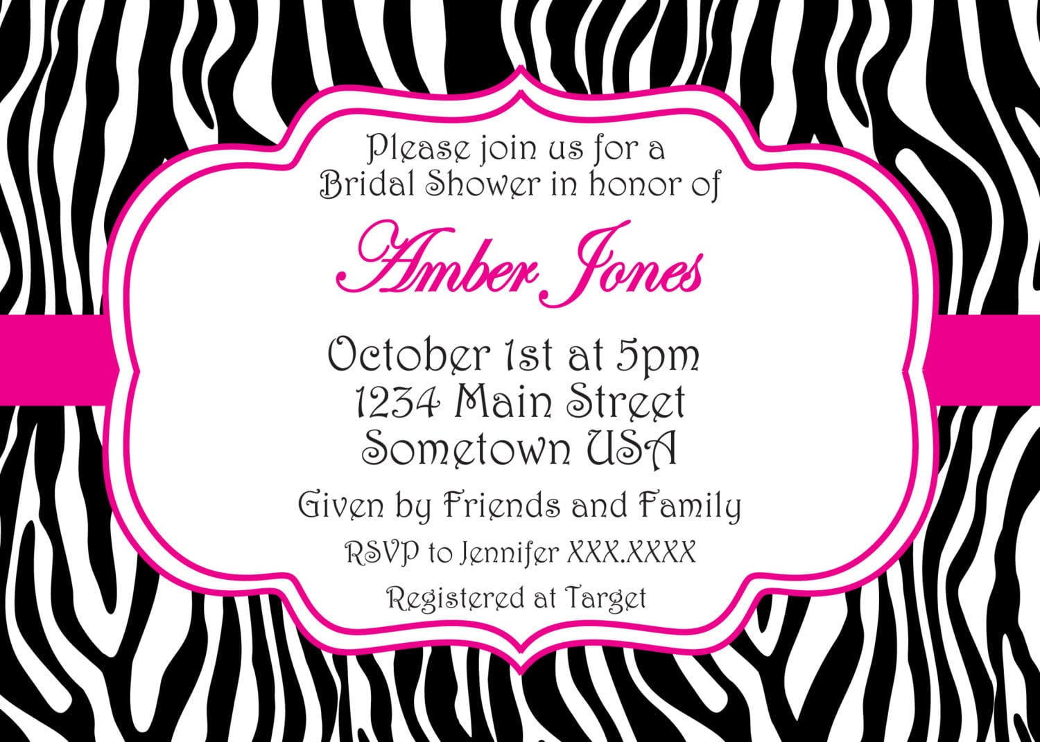 printable pink zebra invitation, Birthday invitations