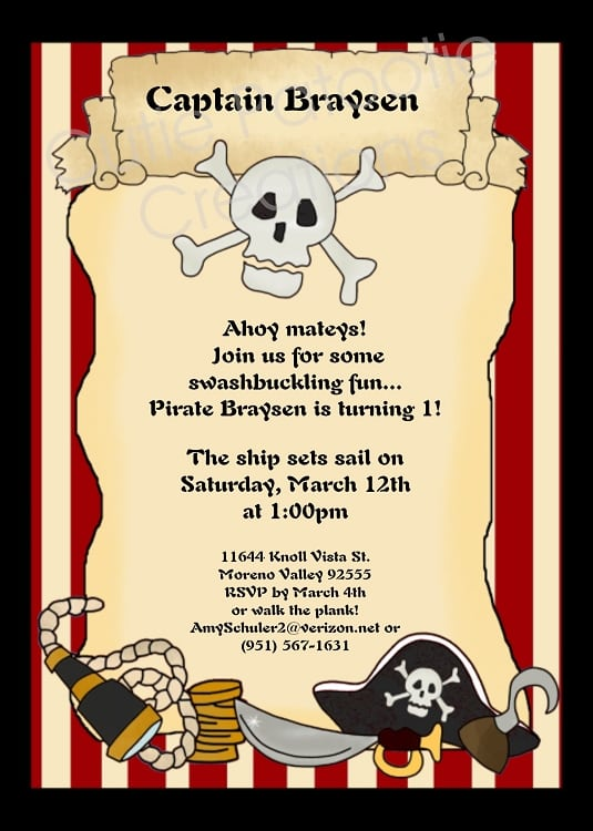 Free Printable Pirate Invitation Templates