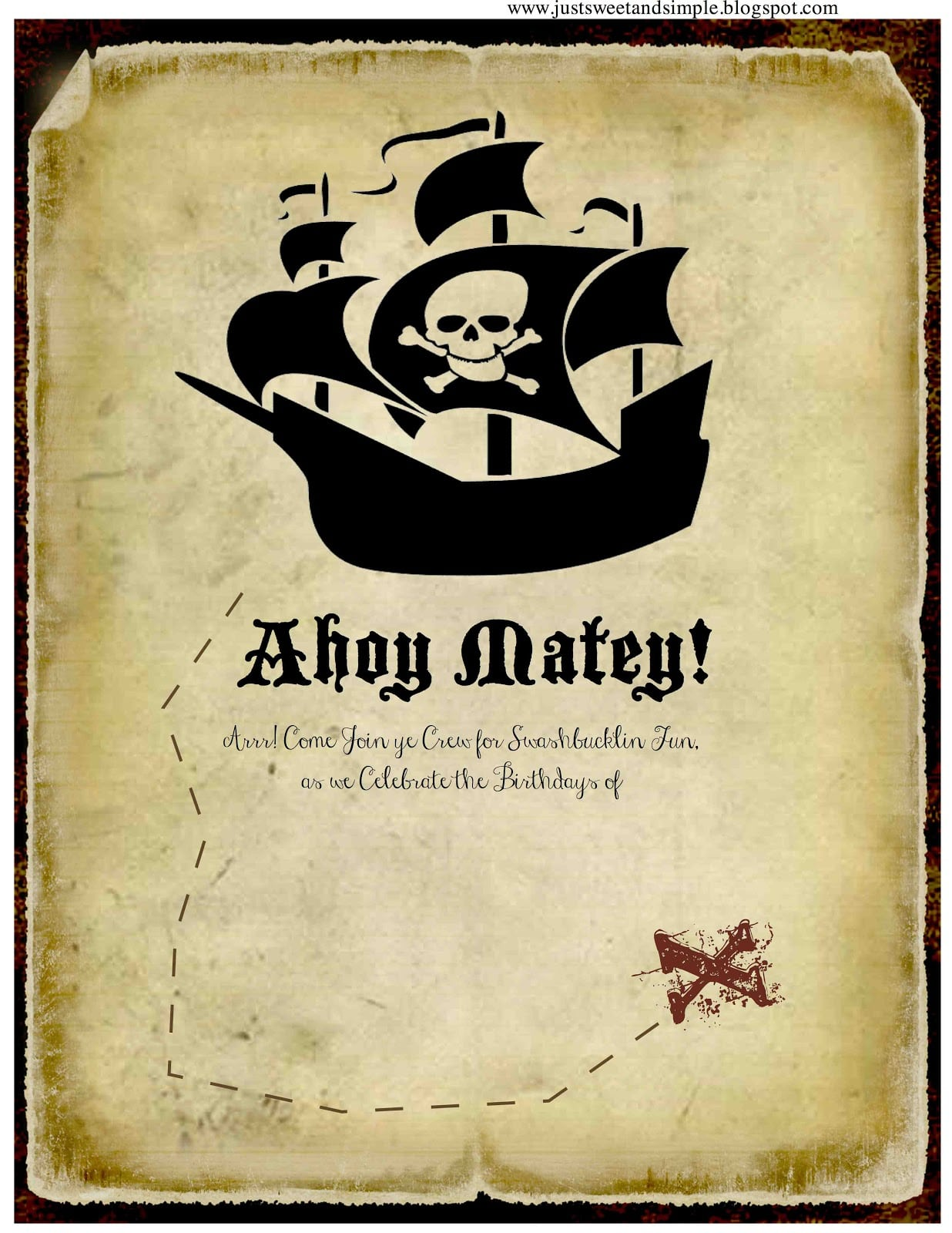 Free Printable Pirate Party Invitation Templates