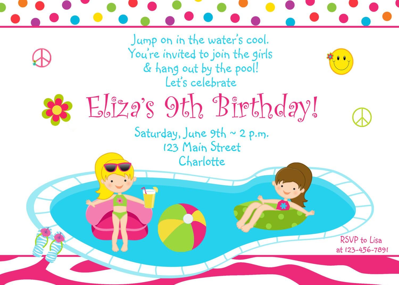 Free Printable Pool Birthday Party Invitation