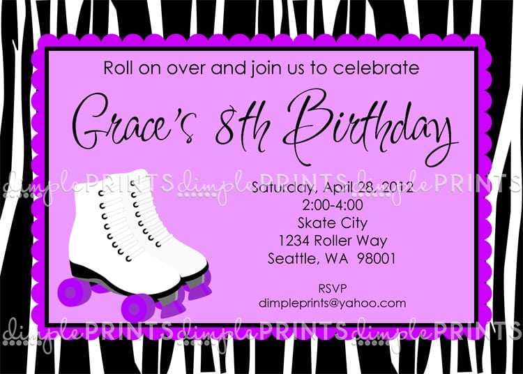 Free Printable Roller Skating Birthday Party Invitations