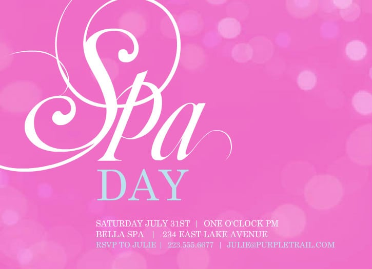 free printable spa birthday invitation