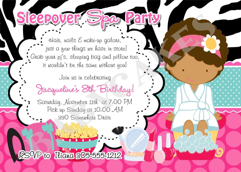 Free Printable Spa Slumber Party Invitations