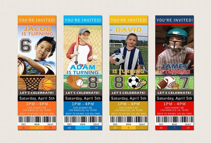 Free Printable Sports Themed Birthday Invitations