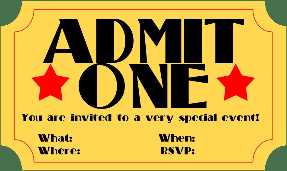 Free Printable Ticket Stub Invitations