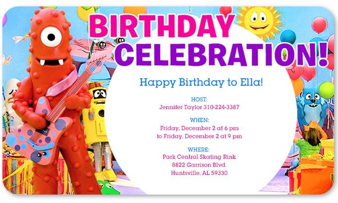 Free Printable Yo Gabba Gabba Birthday Party Invitations
