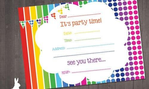 Free Rainbow Party Invitation Template