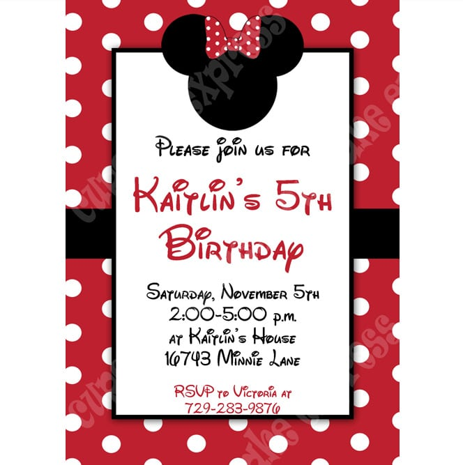 Free Red Minnie Mouse Printable Invitation