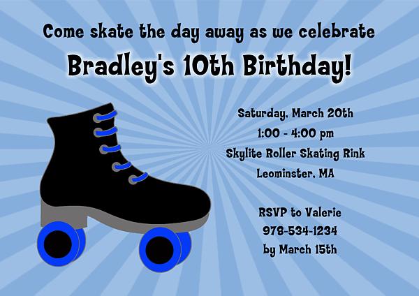 Free Roller Skating Party Invitation