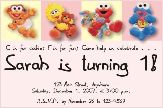 Free Sesame Street 1st Birthday Invitation Template